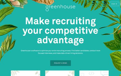 Screenshot of Home Page greenhouse.io - Recruiting Software - Applicant Tracking System | Greenhouse Software - captured July 21, 2016