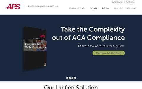 Screenshot of Home Page apspayroll.com - Online Payroll, HR & ACA Reporting Solutions | APS Payroll - captured Dec. 23, 2015