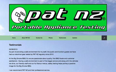 Screenshot of Testimonials Page patnz.com - Testimonials - PAT NZ Test and Tag - captured Sept. 25, 2018