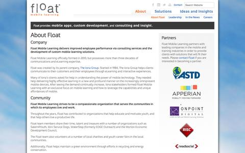 Screenshot of About Page floatlearning.com - Mobile Learning Strategy | Custom Mobile Learning Development - captured Sept. 23, 2014