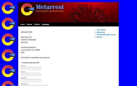 Screenshot of Contact Page metarrest.com - Contact | Metarrest - captured Oct. 27, 2014