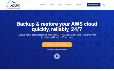 Screenshot of Home Page n2ws.com - N2WS | AWS EBS Backup | EC2 Backup Solution | Cloud Protection Manager - captured Oct. 18, 2017
