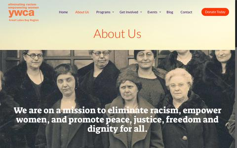 Screenshot of About Page ywcaglbr.org - About Us – YWCA Great Lakes Bay Region - captured Oct. 4, 2017