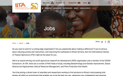 Screenshot of Jobs Page iita.org - Jobs - captured Oct. 15, 2017