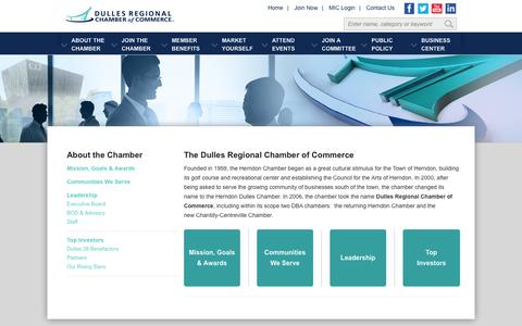 Screenshot of About Page dullesregionalchamber.org - Dulles Regional Chamber of Commerce - About the Chamber - captured Oct. 6, 2014