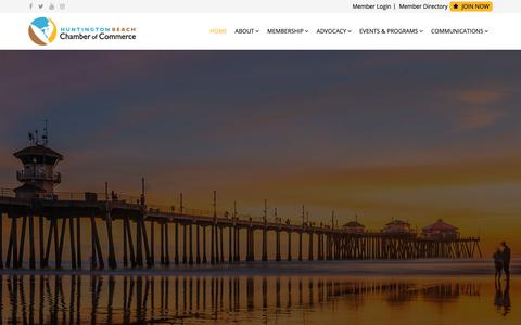 Screenshot of Home Page hbchamber.com - Huntington Beach Chamber of Commerce - Home - captured Sept. 29, 2018