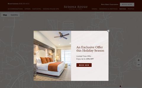 Screenshot of Maps & Directions Page sedonarouge.com - Downtown Sedona | Map | Sedona Rouge Hotel and Spa - captured Dec. 20, 2018