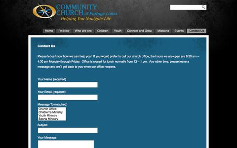 Screenshot of Contact Page ccofpl.org - Contact Us «  Community Church of Portage Lakes - captured Oct. 8, 2014