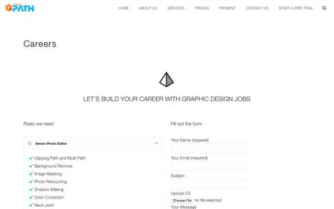 Screenshot of Jobs Page graphicspath.com - Graphic design jobs description for Graphic designers - captured Jan. 14, 2017