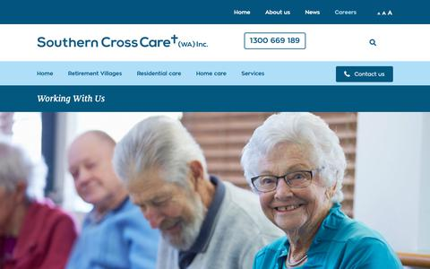 Screenshot of Jobs Page scrosswa.org.au - Working With Us - Southern Cross Care - captured Oct. 20, 2018