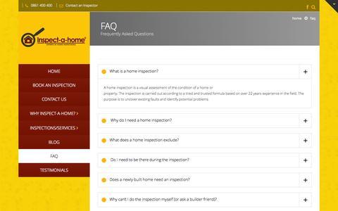 Screenshot of FAQ Page inspectahome.co.za - FAQ   Inspectahome - captured Oct. 6, 2014