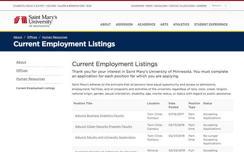 Screenshot of Jobs Page smumn.edu - Current Employment Listings - captured May 20, 2018