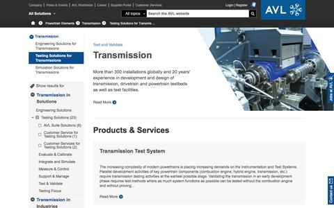 Testing Solutions for Transmissions - avl.com