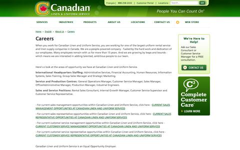 Screenshot of Jobs Page canadianlinen.com - About Us - Careers - Canadian Linen - captured Oct. 1, 2014