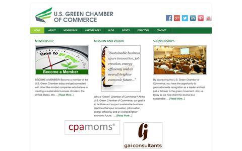 Screenshot of Home Page usgreenchamber.com - U.S. Green Chamber of Commerce - captured Oct. 3, 2014