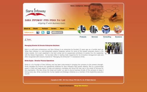 Screenshot of Team Page sarainfoway.com - Sara Infoway ITES India Pvt Ltd - IT Infrastructure Services Company | System Integration in India | Hardware Solutions in Hyderabad, Chennai, Mumbai, Pune | ITIL Consulting India | Microsoft Practice India | Microsoft Solutions India | Remote Infras - captured Oct. 3, 2014