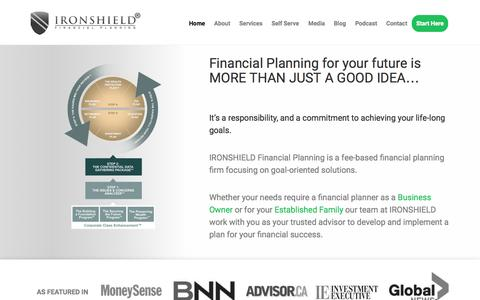 Screenshot of Home Page ironshield.ca - Ironshield Financial Planning - captured Sept. 16, 2015