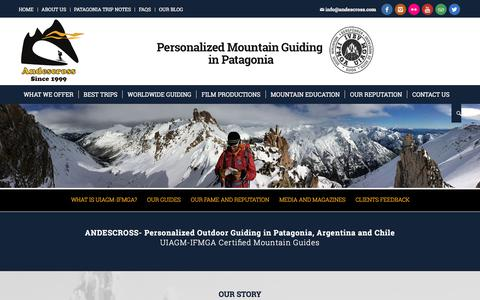 Screenshot of About Page andescross.com - Patagonia, South America: outdoor guiding | UIAGM Mountain guides | Hiking, Mountaineering, Trekking, backcountry skiing, mountain bike | Andes Cross - Bariloche Argentina - captured Oct. 8, 2017