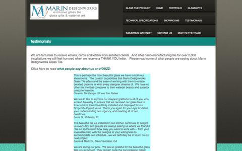 Screenshot of Testimonials Page marindesignworks.com - TESTIMONIALS - captured Oct. 4, 2014