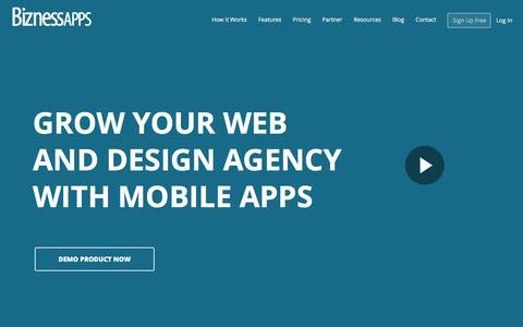 Screenshot of Home Page biznessapps.com - Bizness Apps - App Maker For Small Businesses - captured Dec. 18, 2015