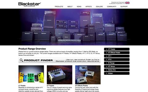Screenshot of Products Page blackstaramps.com - Blackstar Guitar Amps, Amplifiers and Pedals - captured Sept. 13, 2014