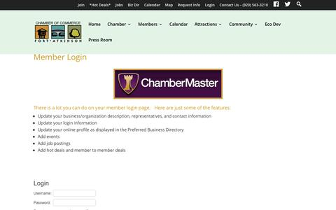 Screenshot of Login Page fortchamber.com - Login - Member Login | The Fort Atkinson Area Chamber of Commerce and Visitor Center - captured Nov. 25, 2016