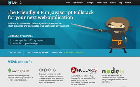 Screenshot of Home Page mean.io - MEAN IO - A Fullstack Javascript Framework - captured Sept. 23, 2014