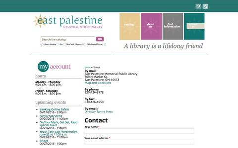Screenshot of Contact Page east-palestine.lib.oh.us - Contact | East Palestine Memorial Public Library - captured June 18, 2016