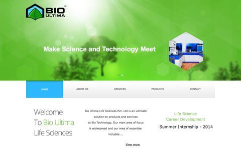 Screenshot of Home Page bioultimals.com - Bio Ultima - captured Oct. 5, 2014