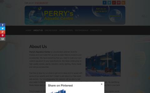 Screenshot of About Page perrysaquaticscentrelincoln.com - About Us - Perrys Aquatic Centre - Pet Shop Lincoln - captured Jan. 23, 2016