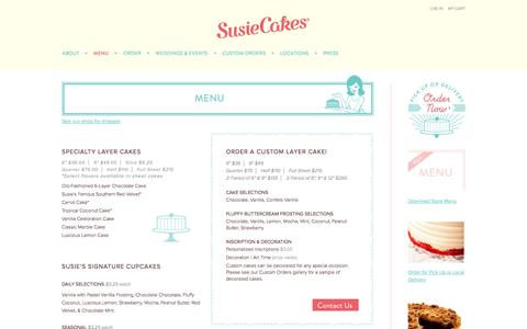Screenshot of Menu Page susiecakes.com - Menu - captured Oct. 25, 2014