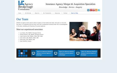 Screenshot of Team Page agencybrokerageconsultants.com - Agency Brokerage Consultants - Our Team - captured Sept. 30, 2014
