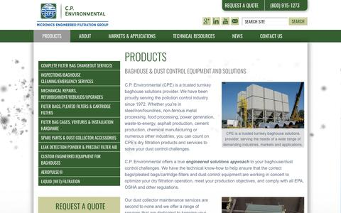 Screenshot of Products Page cp-environmental.com - Baghouse and Industrial Dust Control Equipment and Services from CPE - captured July 9, 2017