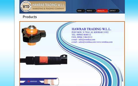 Screenshot of Products Page hawrab.com - HAWRAB Trading W.L.L. - captured Jan. 27, 2016