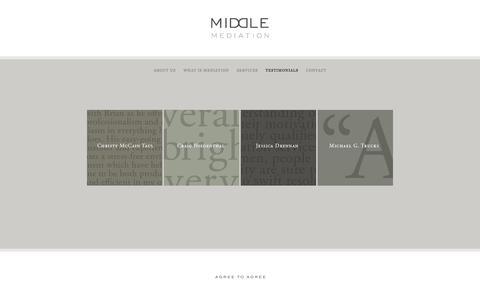 Screenshot of Testimonials Page middlemediation.com - Middle Mediation | Testimonials - captured Oct. 27, 2014
