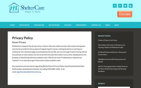 Screenshot of Privacy Page sheltercare.org - Privacy Policy — ShelterCare - captured July 22, 2016