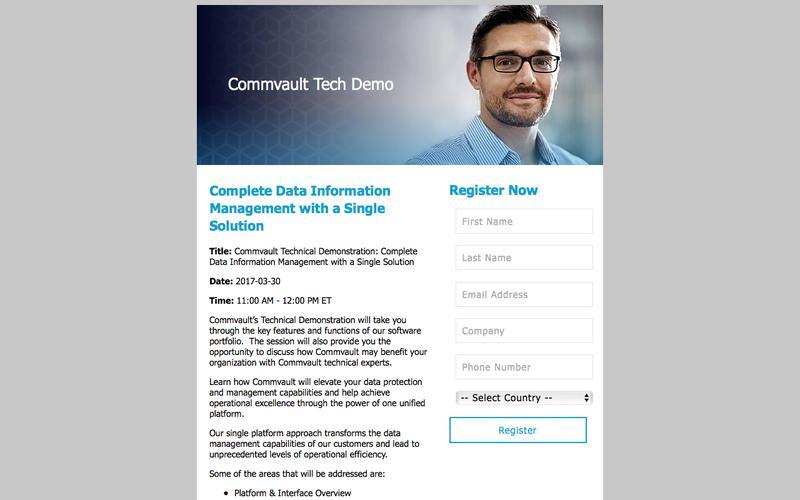 Commvault Tech Demo Registration   Commvault