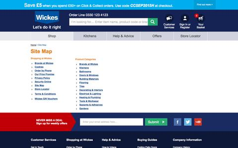 Screenshot of Site Map Page wickes.co.uk - Wickes.co.uk - captured Oct. 2, 2015