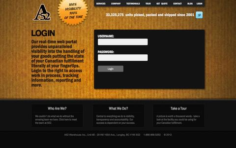 Screenshot of Login Page a52.ca - A52 Warehousing - Exceptional Canadian Warehousing and 3rd Party Logistics - captured Sept. 22, 2014