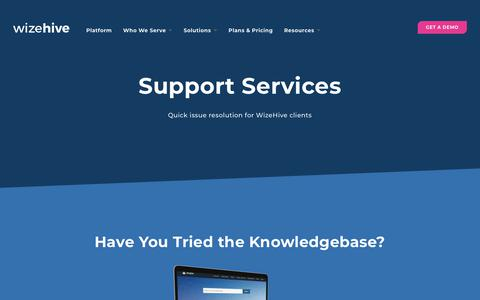 Screenshot of Support Page wizehive.com - Support Services | WizeHive - captured Dec. 9, 2019