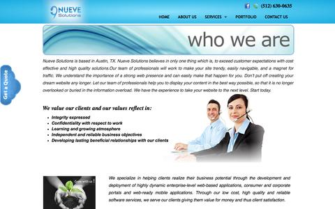 Screenshot of About Page nuevesolutions.com - Software and Web Development Company in Austin, TX | Software Development, Web Designing & SEO Services - captured Sept. 19, 2014