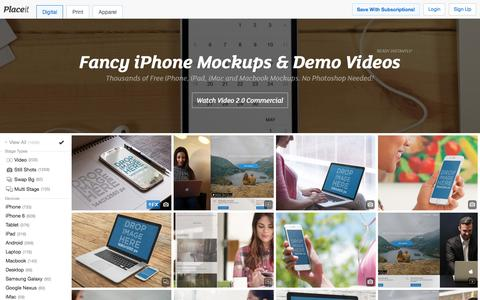 Screenshot of Home Page placeit.net - Free iPhone Mockup Generator & App Demo Videos by Placeit - captured Jan. 22, 2016