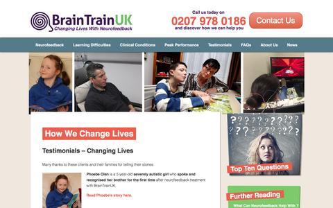 Screenshot of Testimonials Page braintrainuk.com - How We Change Lives | BrainTrainUK - captured Nov. 23, 2016