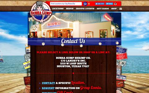 Screenshot of Contact Page bubbagump.com - CONTACT | Bubba Gump Shrimp Co. - Fresh Seafood, Family and Fun - captured Oct. 7, 2018