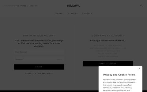 Screenshot of Support Page rimowa.com - My Account Login - captured June 25, 2018
