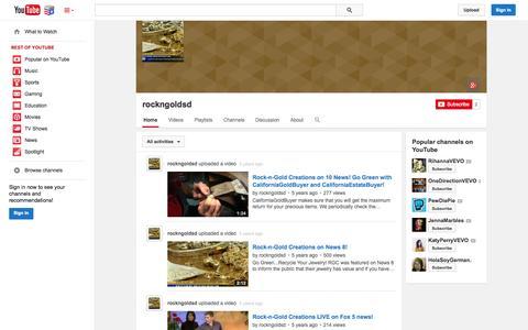 Screenshot of YouTube Page youtube.com - rockngoldsd  - YouTube - captured Nov. 5, 2014