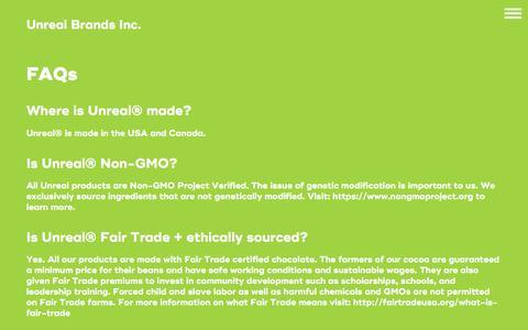 Screenshot of FAQ Page getunreal.com - FAQ - UnReal Candy - captured June 28, 2017