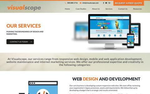 Screenshot of Services Page visualscope.com - Web Design, SEO, Ecommerce Services | Visualscope LLC - captured Oct. 19, 2018