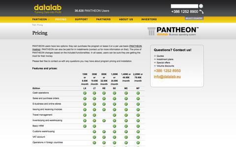 Screenshot of Pricing Page datalab.eu - Pricing - Datalab PANTHEON - captured Sept. 19, 2014
