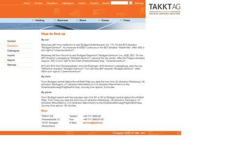 Screenshot of Maps & Directions Page takkt.de - TAKKT AG - Directions - captured Sept. 23, 2014